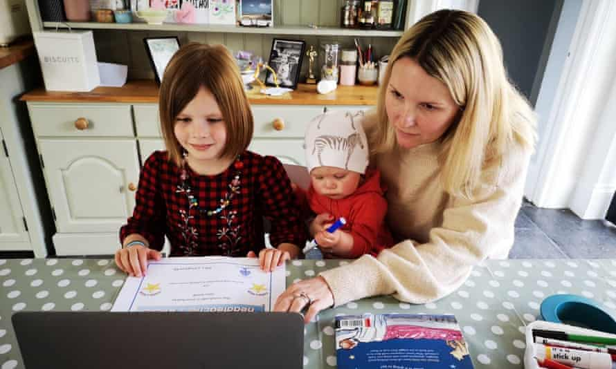 Freelance marketing consultant Anna Bosworth at home with with daughters Alba, 5, and Luna, 8 months.