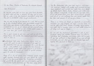 A letter written by refugees on Nauru to the Australian prime minister, Malcolm Turnbull, saying they have been 'treated with cruelty and contempt' and asking for Turnbull's assistance in convincing New Zealand to resettle them.