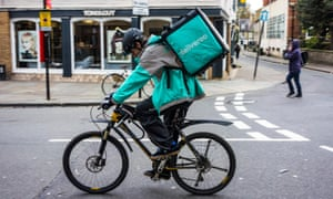 A Deliveroo delivery rider in Cambridge
