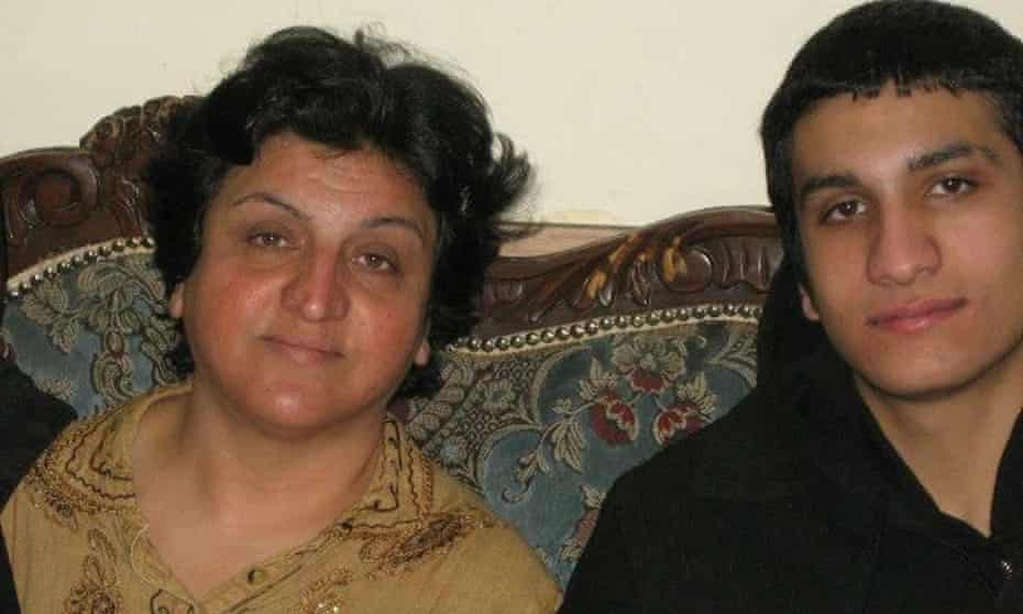 Iranian refugee Masoumeh Torkpour with her son Daniel in the last picture they had taken together.