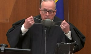 Hennepin County District Judge Peter Cahill presides during the sixth day of the trial of former Minneapolis police officer Derek Chauvin for second-degree murder, third-degree murder and second-degree manslaughter in the death of George Floyd in Minneapolis.