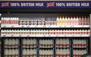 Cartons of milk on sale in a UK supermarket