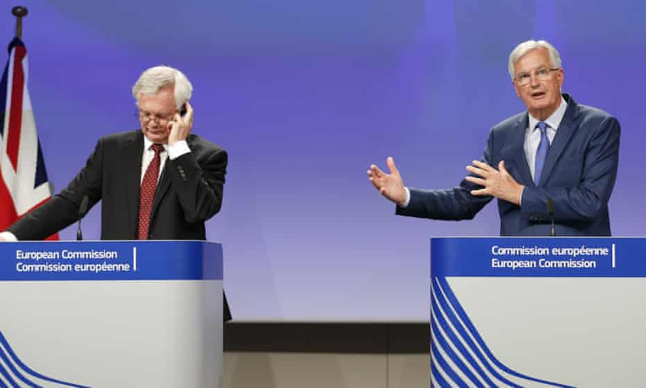 David Davis and Michel Barnier at their tense press conference.