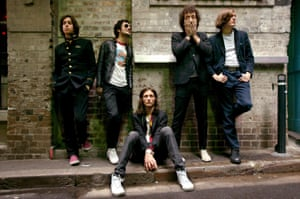 Skinny jean-wearing rock band the Strokes in 2005