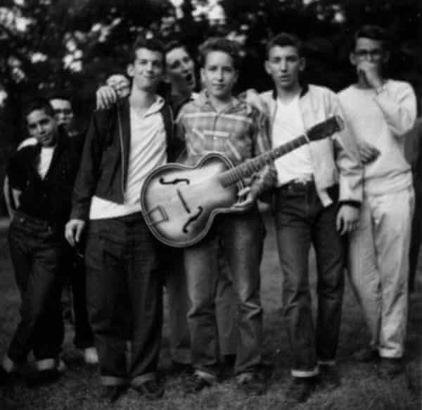 Dylan (centre), aged 17, with friends at summer camp in 1957