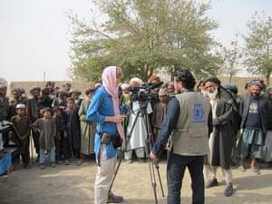 Sally Sara filming in Jawzjan province, 2011.