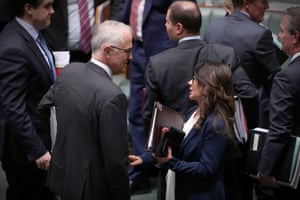 Linda Burney talks to Malcolm Turnbull after question time