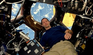 Thomas Pesquet in the International Space Station's Cupola observatory.