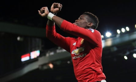 Paul Pogba makes a ''shackles' gesture after scoring against Newcastle at the weekend