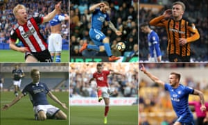 Clockwise from top left: Sheffield United's Mark Duffy, Peterborough's Jack Marriott, Hull's Jarrod Bowen, Cardiff's Joe Ralls, Nottingham Forest's Ben Brereton and George Saville of Millwall.
