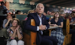 Biden in Iowa last week. His campaign has dismissed the criticism as a fixation of the press, arguing that the gaffes endear him to American voters.