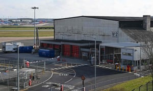 The hangar that will become a temporary mortuary at Birmingham airport.