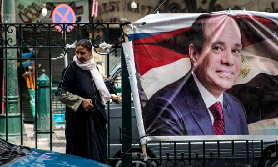 Electoral posters supporting the incumbent president Abdel Fattah al-Sisi in Cairo. The climate for media has been increasingly oppressive since he came to power.