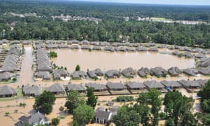 Aerial view of the flooded areas of Baton Rouge.