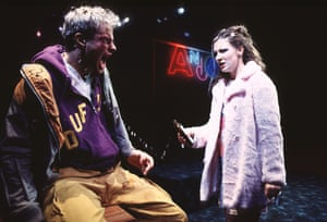 Andrew Clover and Kate Ashfield in Mark Ravenhill's Shopping and Fucking at the Royal Court in 1996.