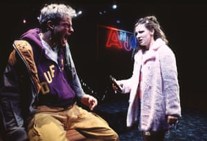 Andrew Clover as Robbie and Kate Ashfield as Lulu in Shopping and Fucking when it premiered at the Royal Court in 1996.