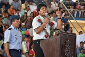 Bolivia's President Evo Morales speaks during a ceremony of promulgation of the law that annuls the national park protection for Tipnis.