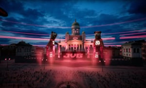 Screenshot from VR gig by Finnish rap duo JVG on Virtual Helsinki