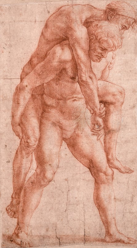 Direct evidence of Raphael's hand and eye … A Man Carrying An Older Man on His Back, circa 1513-14, Raphael.