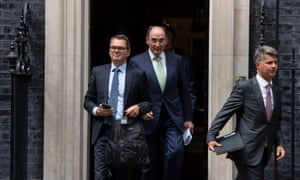 Svein Richard Brandtzaeg, chief executive officer of Norsk Hydro, Paul Bulcke, chairman of Nestle SA and Harald Krueger, chief executive officer of Bayerische Motoren Werke AG (BMW), leaving 10 Downing Street after the ERT meeting with Theresa May