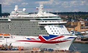The P&O cruise ship Britannia docked at Southampton.