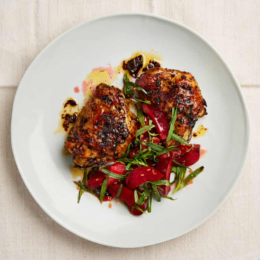 Yotam Ottolenghi's chipotle-roasted chicken with plum and tarragon salad.