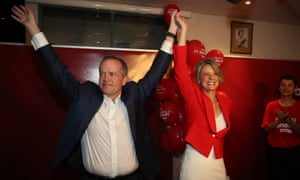 Bill Shorten with Kristina Kennelly after she conceded in the Bennelong byelection