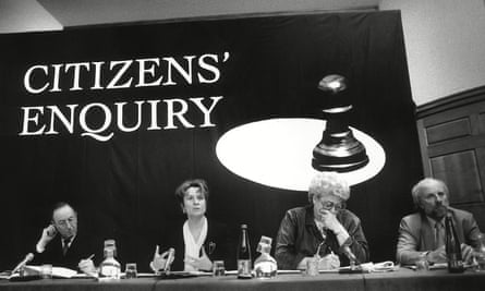 Anthony Lester, left, with Helena Kennedy, Claire Rayner and Greg Dyke at a meeting of Citizens' Enquiry for Charter 88.