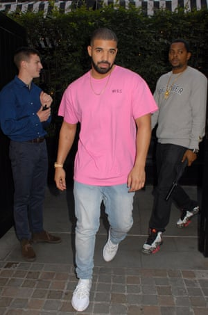 Drake in one of his own t-shirts at Chiltern Firehouse.