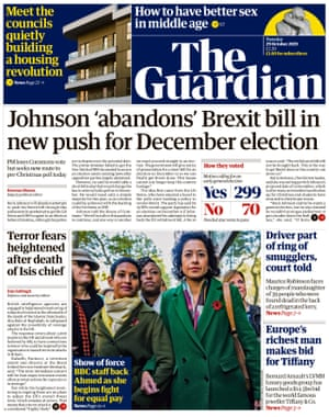 Guardian front page, Tuesday 29 October 2019