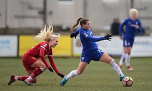 Chelsea's Ramona Bachmann get the ball under control against Liverpool Ladies at Valerie Park on Sunday.