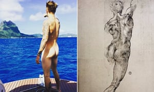 Justin Bieber channeling Michelangelo on his now-deleted Instagram feed.