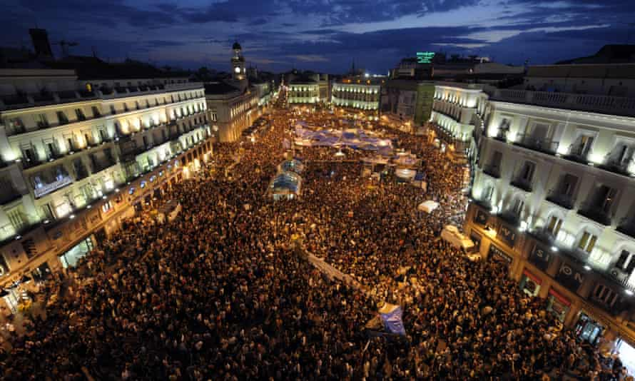 Protesters in Puerta del Sol Square, Madrid, during a rally against Spain's economic crisis and soaring jobless rate in 2011.