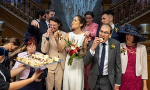 Group shot of people eating canapes. Untitled, from I Am Not a Wedding Photographer.