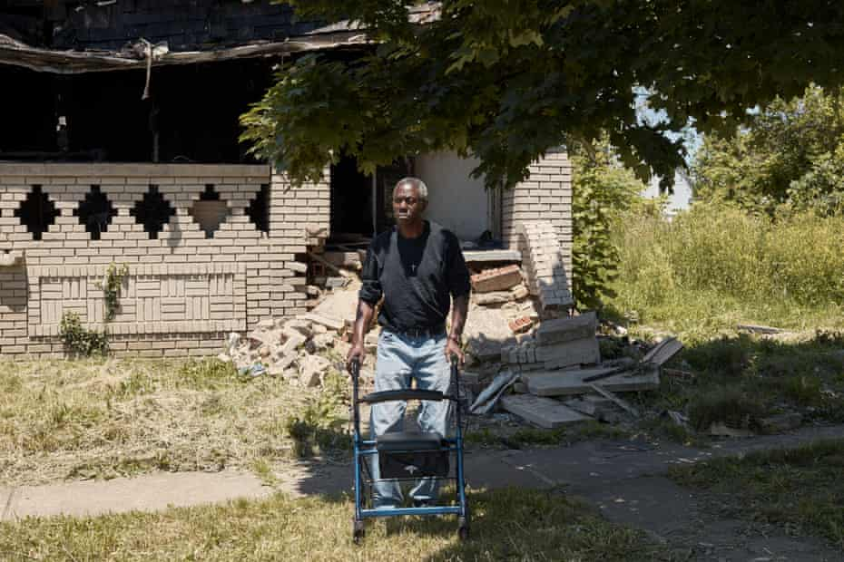Cleveland, OH - Albert Pickett at his fire damaged home in Cleveland, OH on Tuesday, June 16, 2020.