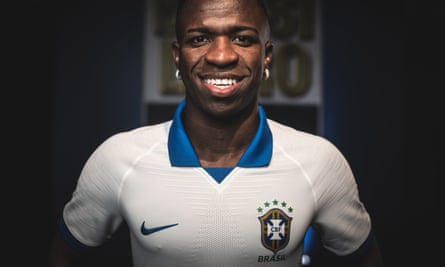 Brazilian striker Vinicius Jr wears the special edition white and blue shirt reimagined for the 2019 Copa America.