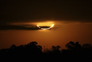 The moon blocks the sun during a total solar eclipse, seen from Buenos Aires, Argentina.