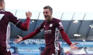 Jamie Vardy celebrates one of his goals.