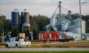 A truck passes a sign in support of Donald Trump near Rochester, Minnesota.