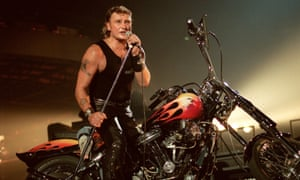 Johnny Hallyday performing at the Palais Omnisports de Paris-Bercy stadium in Paris, 1992.