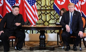 Donald Trump and Kim Jong-un appearing at their talks in Hanoi.
