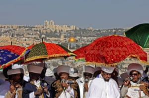 Kessim - religious leaders of the Ethiopian Jewish community lead the prayers during the Sigd holiday, Jerusalem