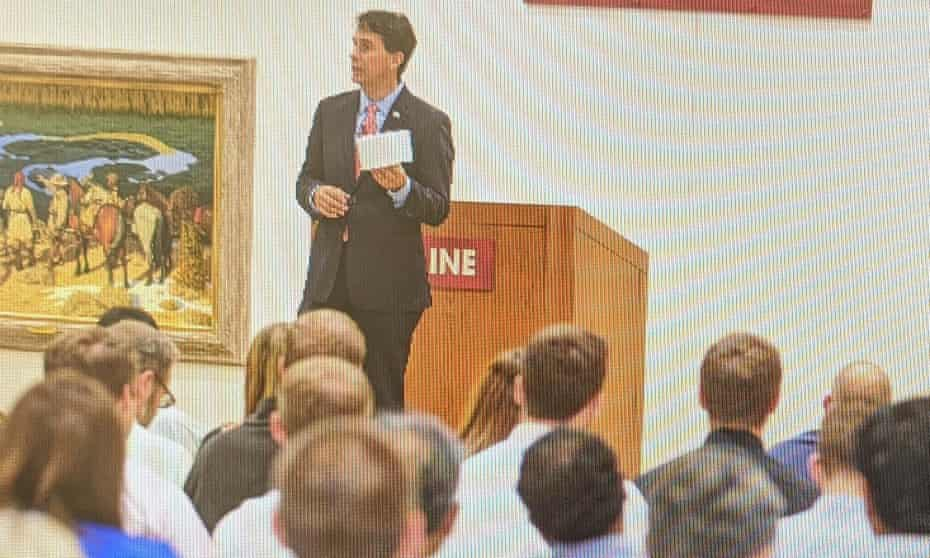 Former Republican governor Scott Walker speaking at a Uline 'lunch and learn' event on 23 July 2020.