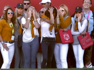 European players' wives react after a missed putt by Lee Westwood on the 18th hole during the afternoon foursomes at the Ryder Cup. Danny Willett and Lee Westwood lost their match against JB Holmes and Ryan Moore