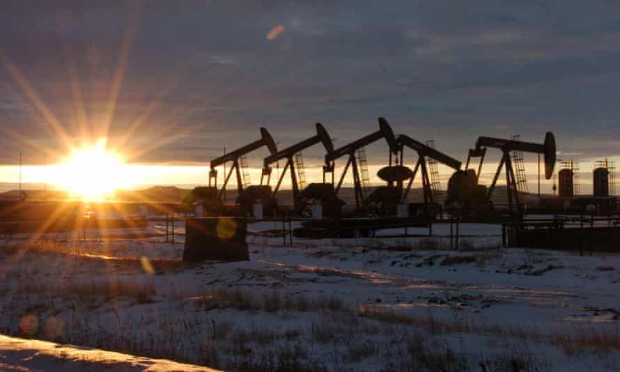 Oil rigs in western North Dakota, US