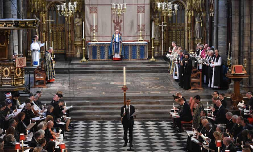 Sadiq Khan at a service of remembrance at Westminster Abbey in London