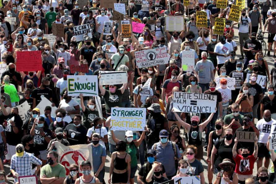 A crowd of about 1,000 turned out in Kenosha for a peaceful protest on Saturday
