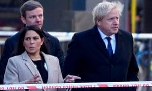 Home secretary Priti Patel and Boris Johnson at London Bridge