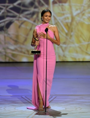 Thandie Newton accepts the Outstanding Supporting Actress in a Drama Series award for 'Westworld'.