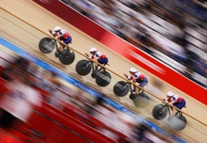 Katie Archibald, Laura Kenny, Neah Evans and Josie Knight of Great Britain sprint during the women's team pursuit final.